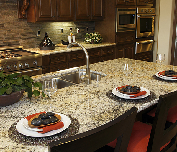 Modern designer kitchen with a granite island.